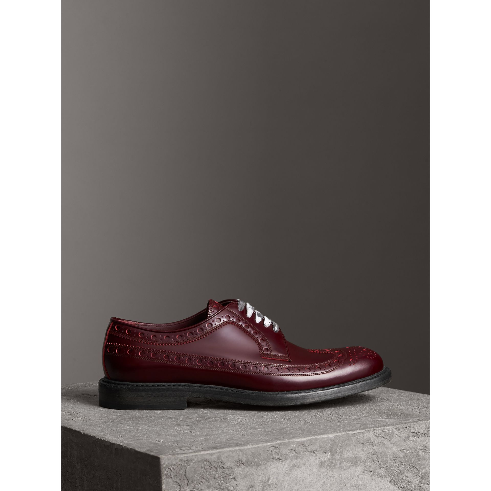 Leather Brogues with Painted Laces in Ebony Red - Men | Burberry Singapore - gallery image 4