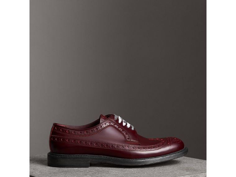 Leather Brogues with Painted Laces in Ebony Red - Men | Burberry United Kingdom - cell image 4