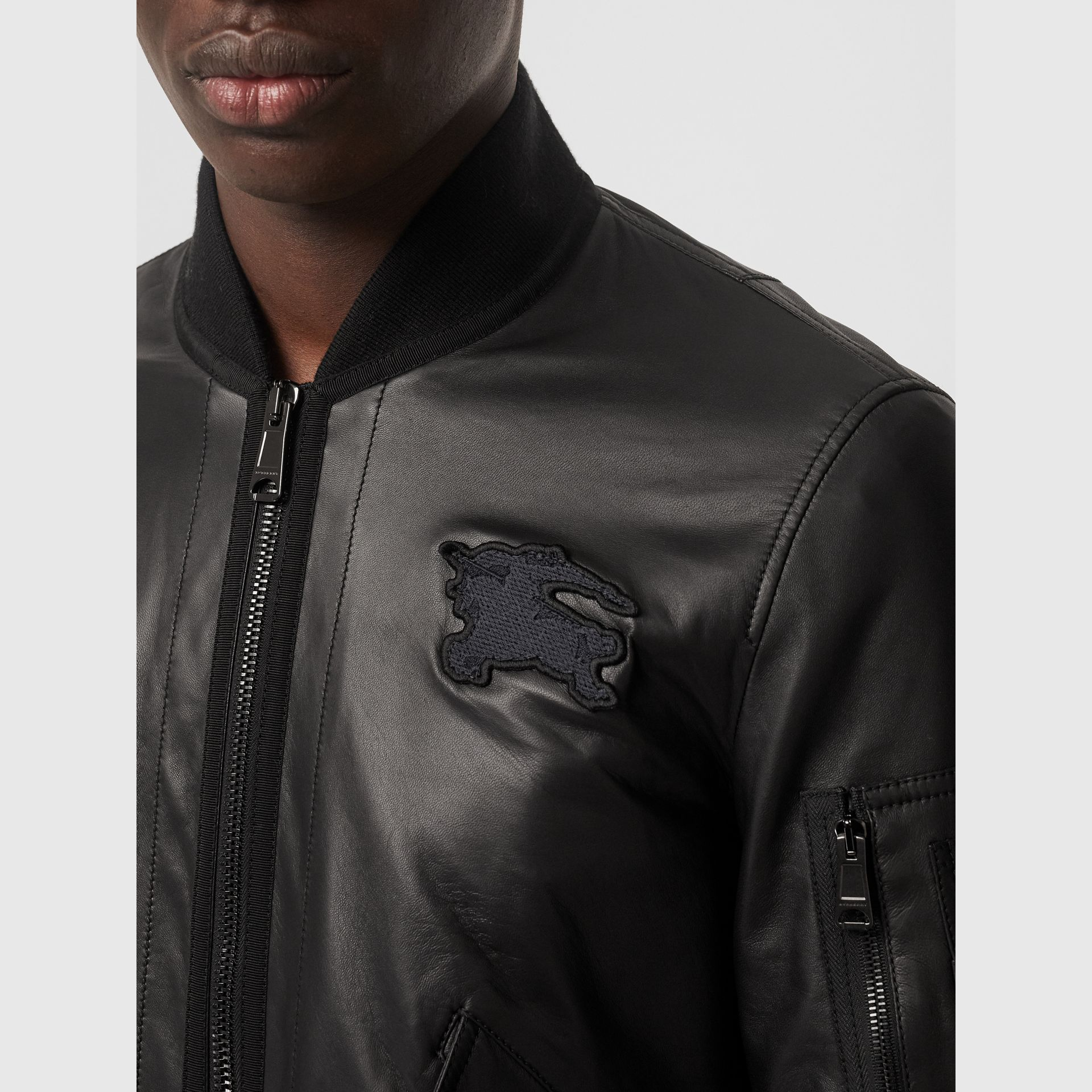EKD Logo Lambskin Bomber Jacket in Black - Men | Burberry - gallery image 1