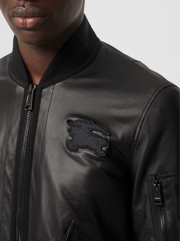 EKD Logo Lambskin Bomber Jacket in Black - Men | Burberry - cell image 1