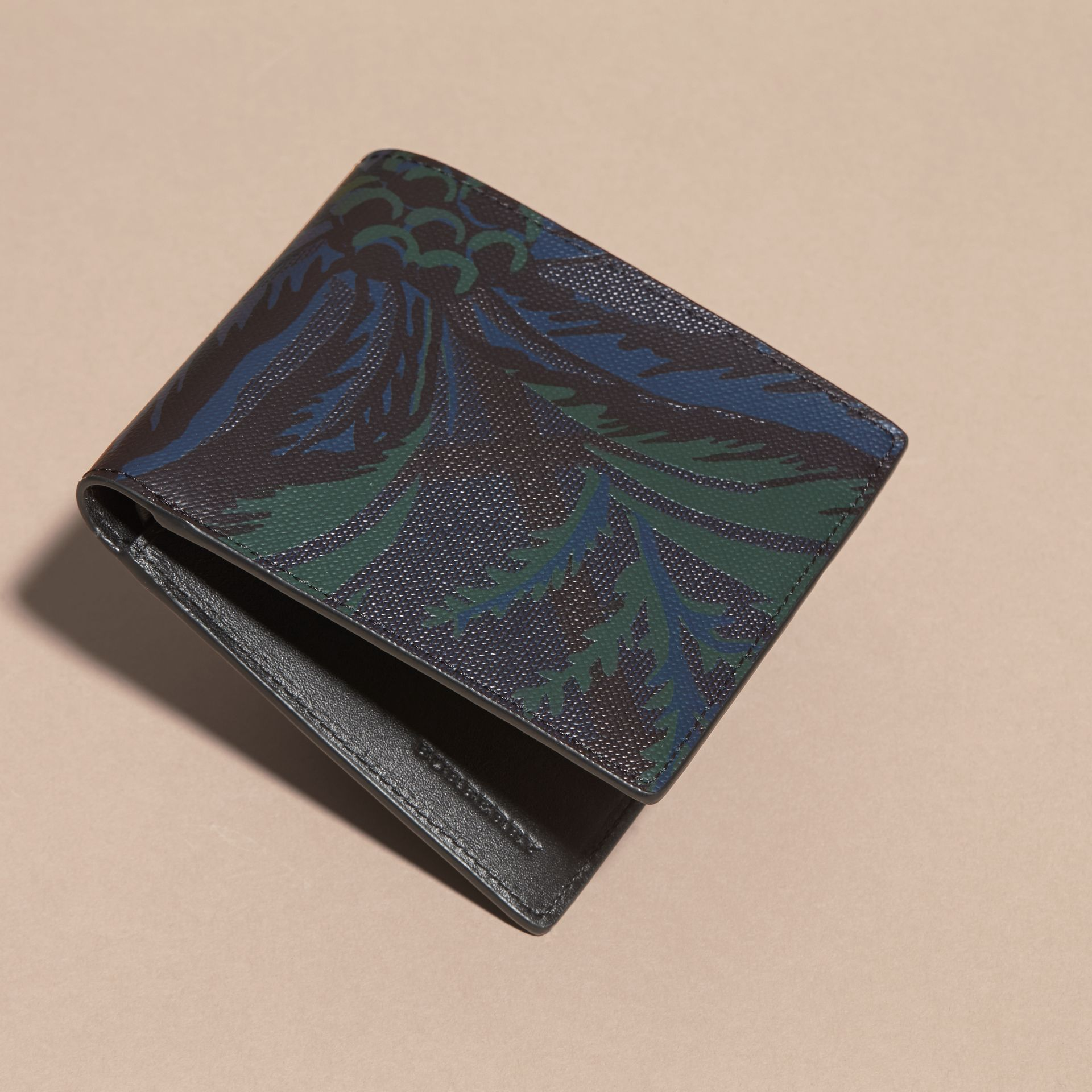 Floral Print London Check Folding Wallet Navy - gallery image 3