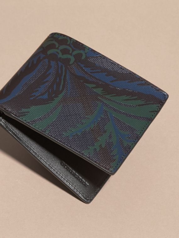 Navy floral Floral Print London Check Folding Wallet Navy - cell image 2