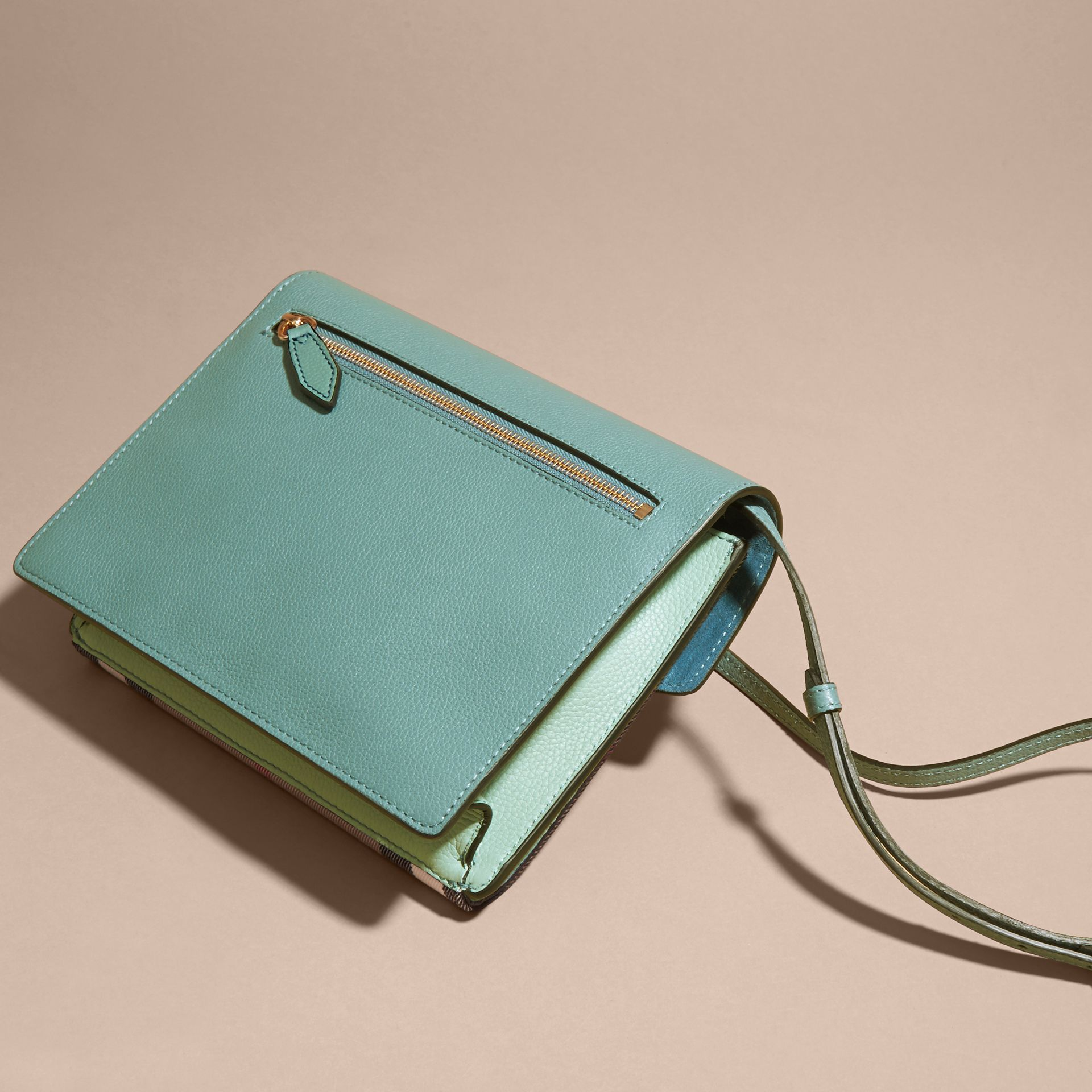 Small Leather and House Check Crossbody Bag Celadon Blue - gallery image 8