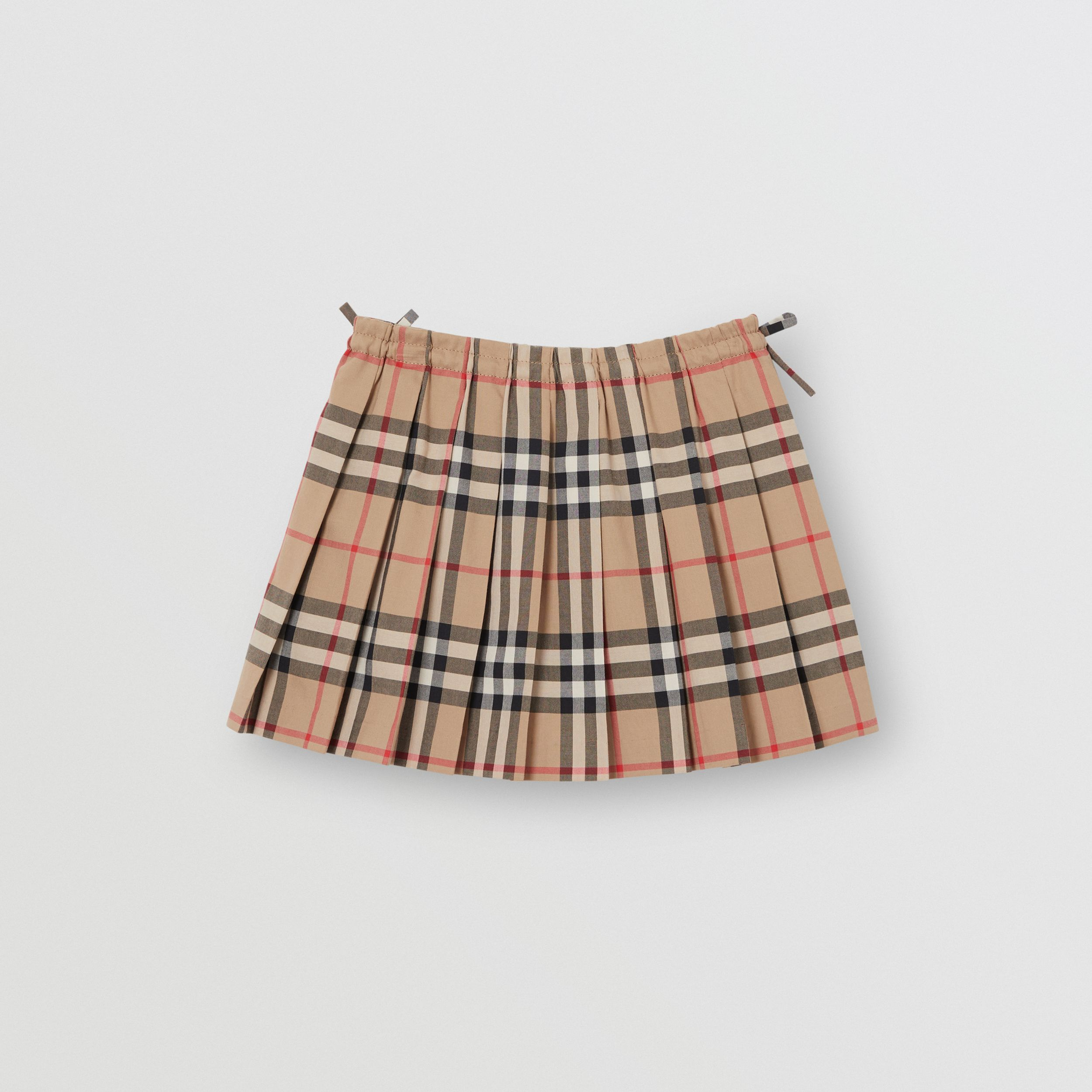 Vintage Check Cotton Pleated Skirt in Archive Beige - Children | Burberry - 4
