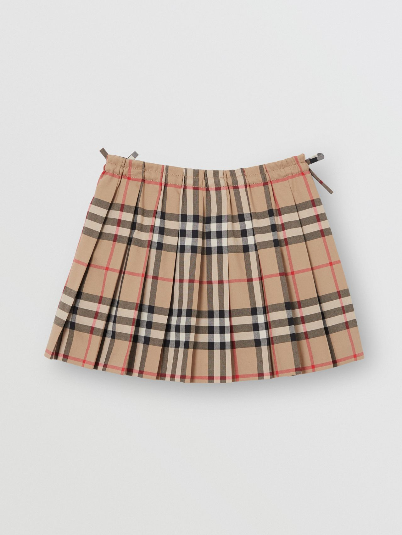 Vintage Check Cotton Pleated Skirt in Archive Beige
