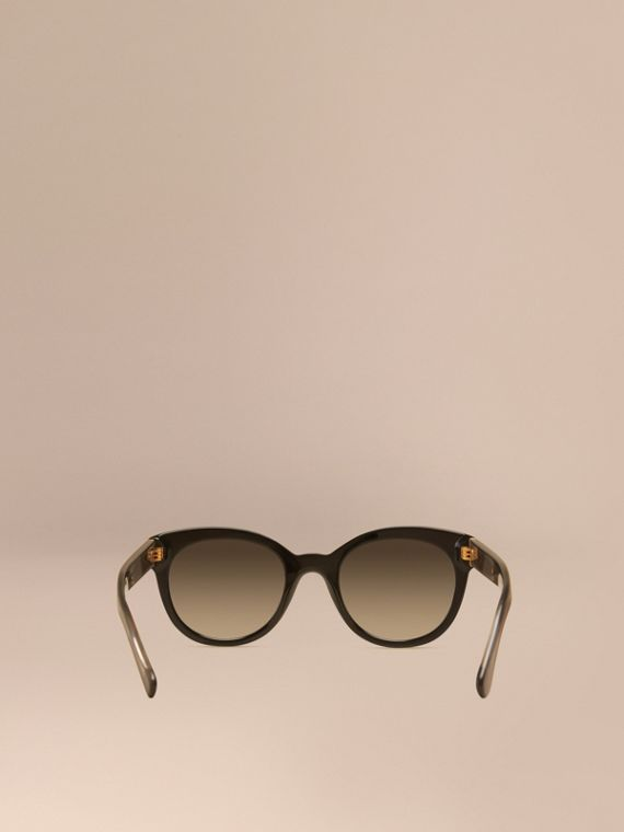 Black Check Detail Oval Frame Sunglasses Black - cell image 3