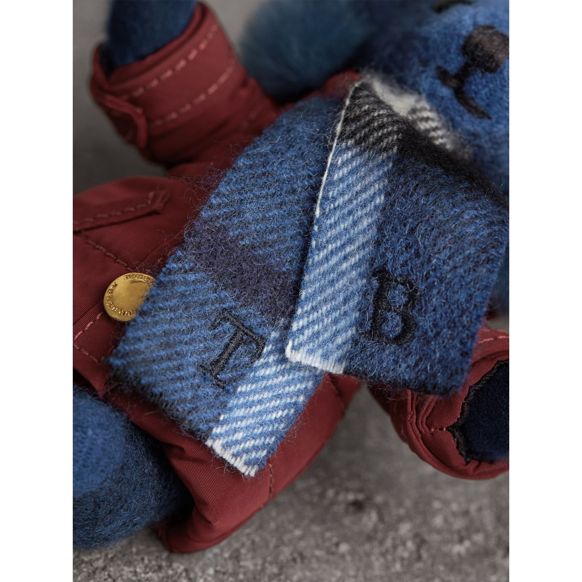 Thomas Bear Charm in Puffer Coat and Scarf in Cadet Blue - Women | Burberry - gallery image 1