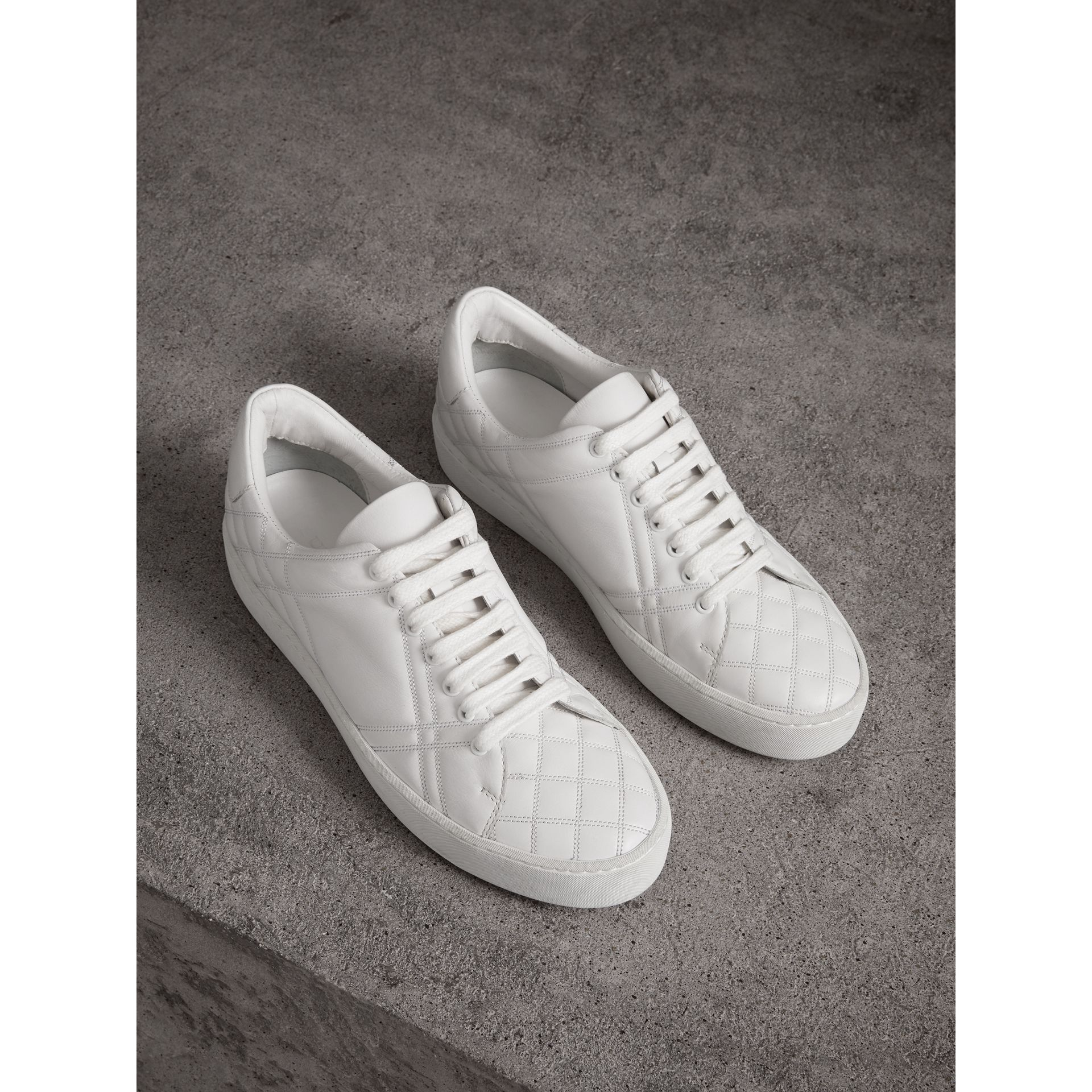 Check-quilted Leather Sneakers in Optic White - Women | Burberry Australia - gallery image 0