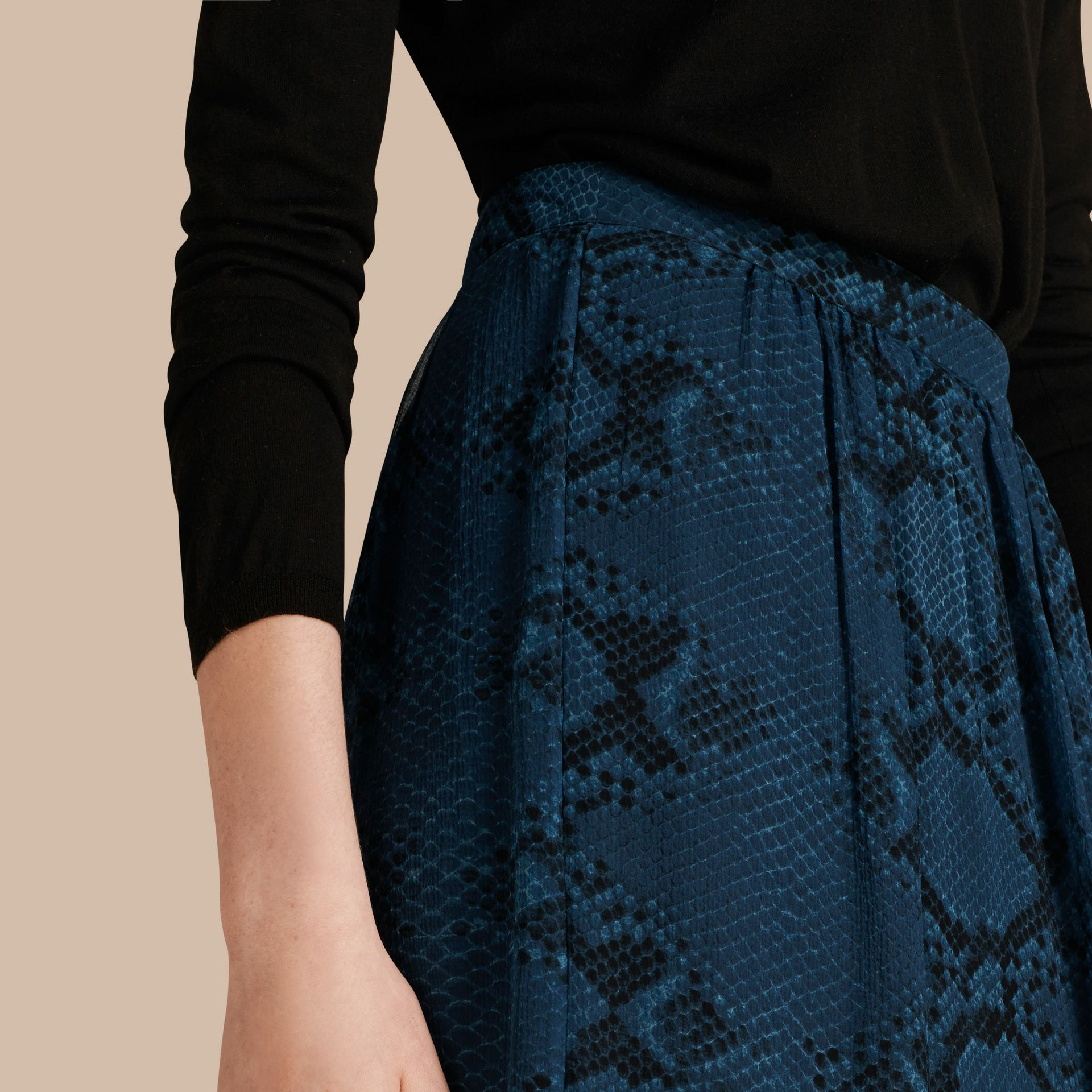 Mineral blue Python Print Silk Crepon Skirt - gallery image 5
