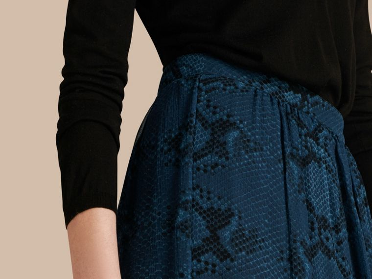 Mineral blue Python Print Silk Crepon Skirt - cell image 4