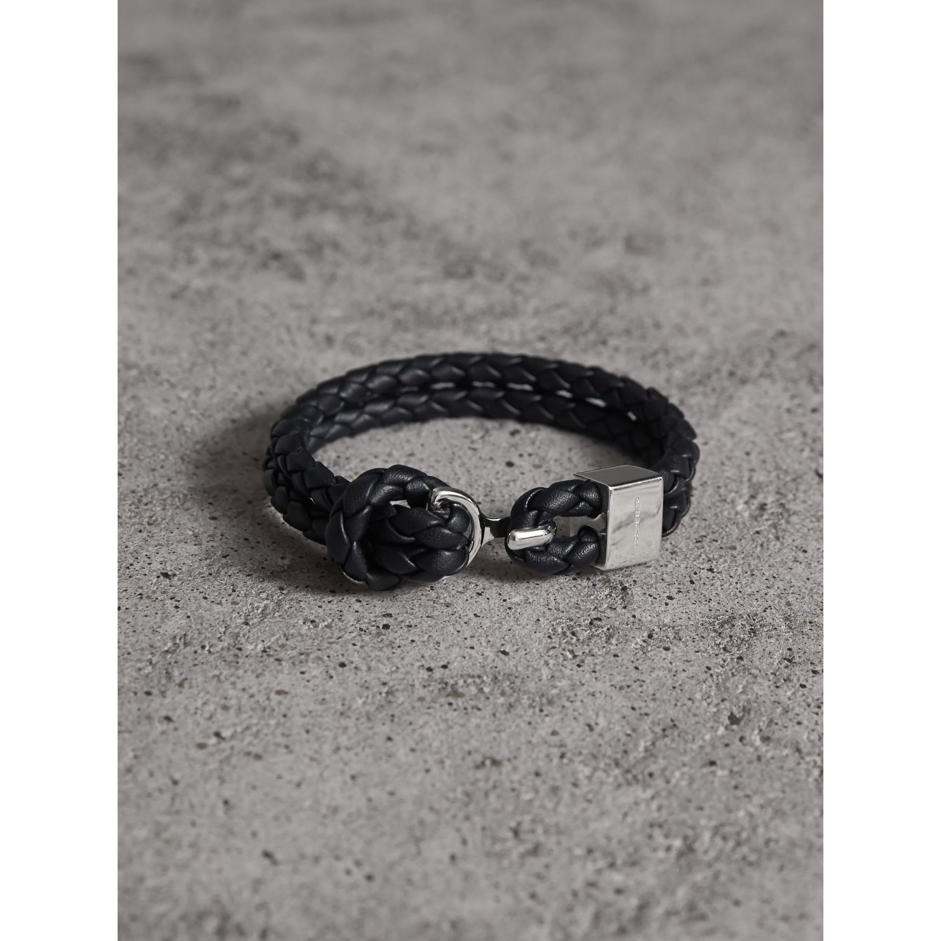 Braided Leather Bracelet in Black - Men | Burberry - gallery image 1