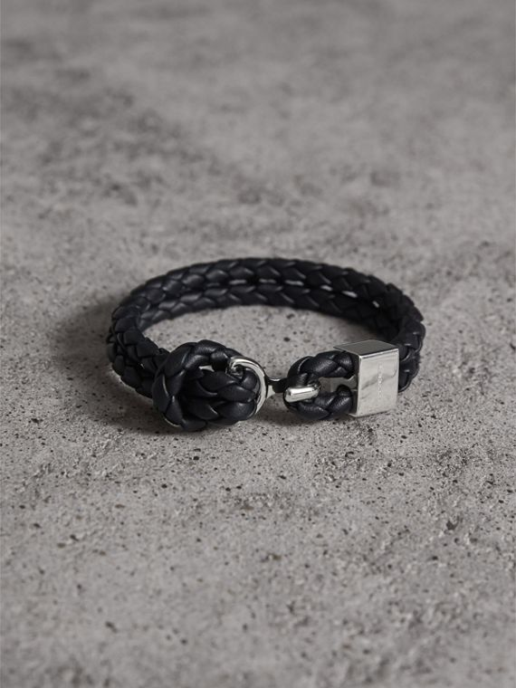 Braided Leather Bracelet in Black - Men | Burberry Singapore