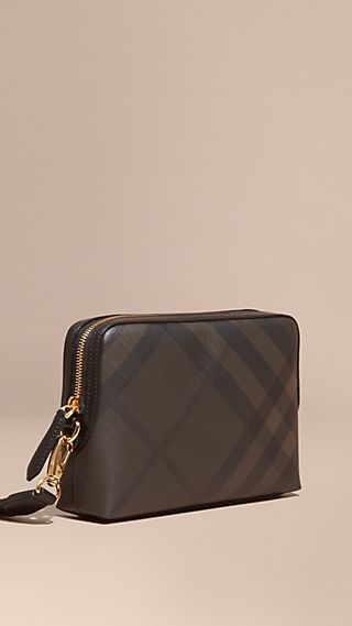 Leather-trimmed London Check Pouch