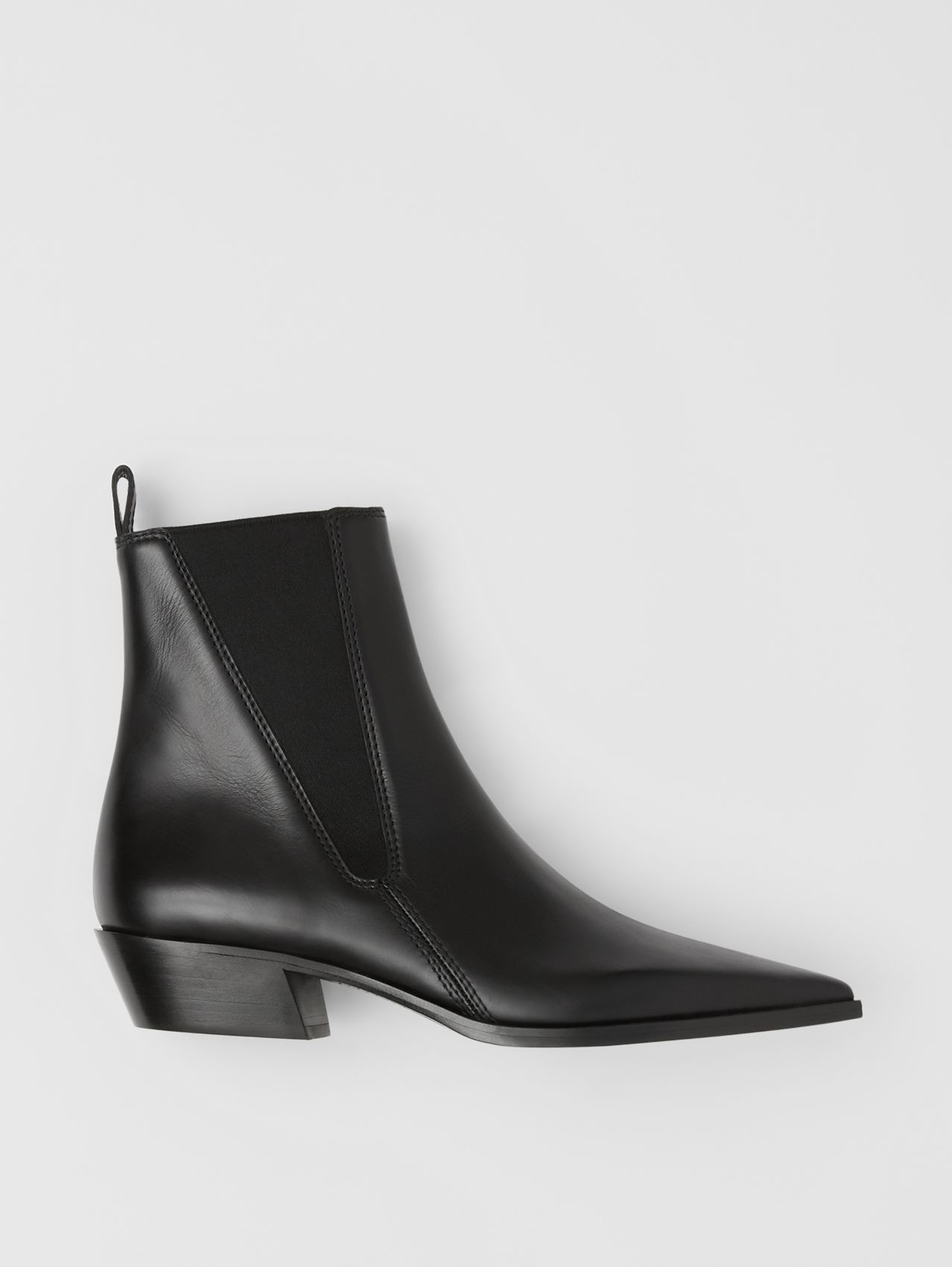 Leather Point-toe Chelsea Boots in Black
