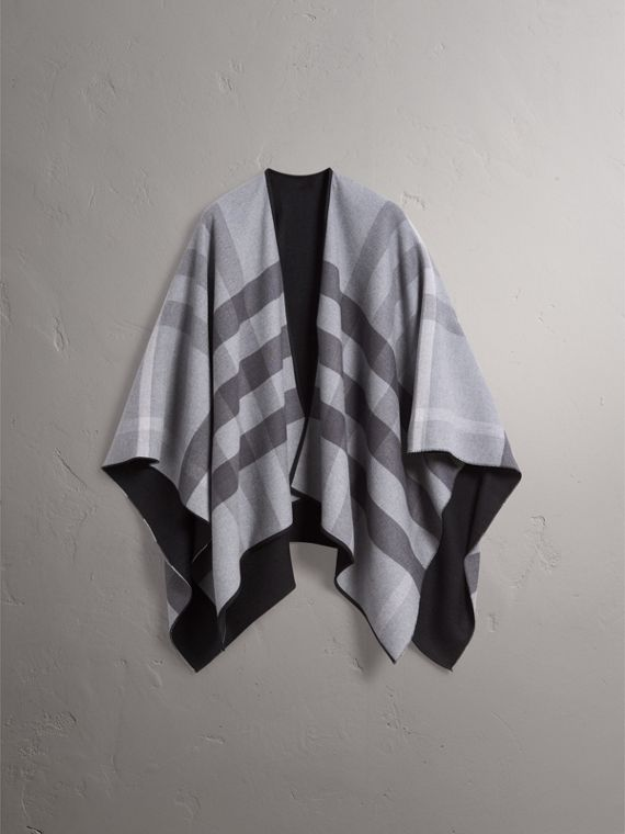 Reversible Check Merino Wool Poncho in Charcoal - Women | Burberry - cell image 3