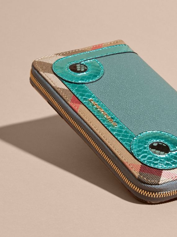 Snakeskin and House Check Ziparound Wallet in Celadon Blue - cell image 2