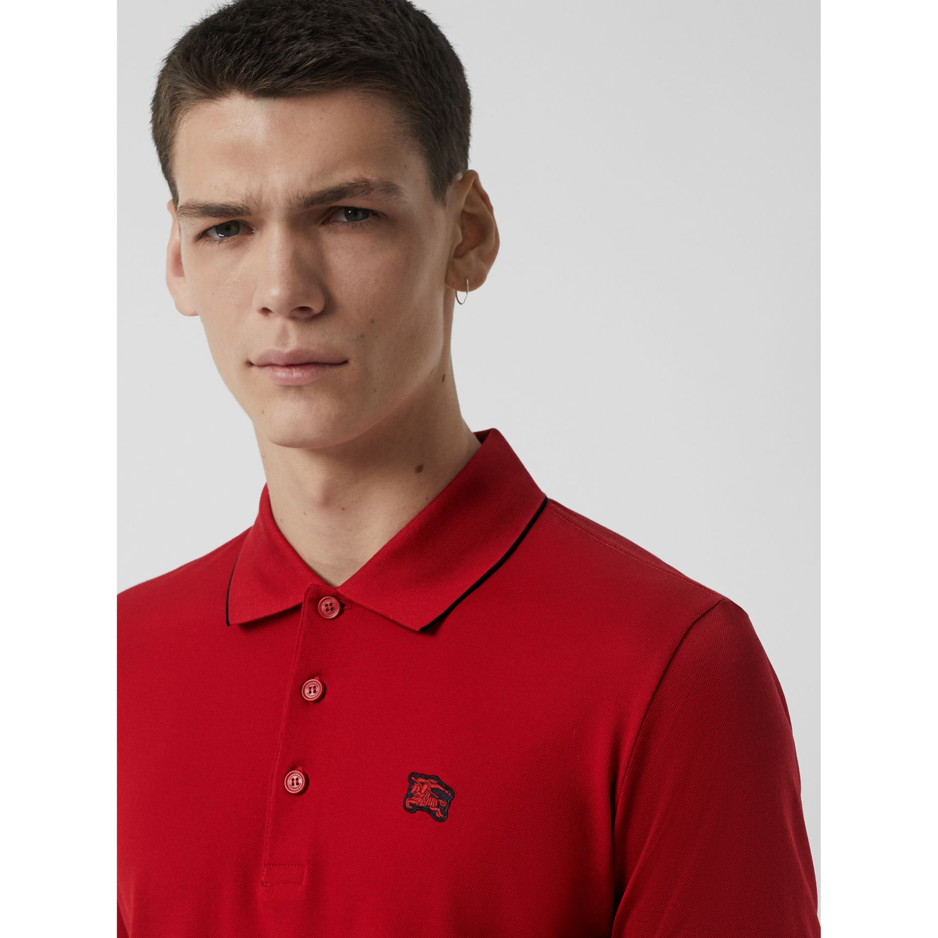 Tipped Cotton Piqué Polo Shirt in Military Red - Men | Burberry - gallery image 1