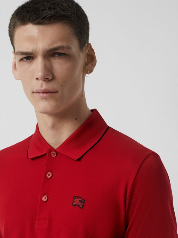 Tipped Cotton Piqué Polo Shirt in Military Red - Men | Burberry United States - cell image 1