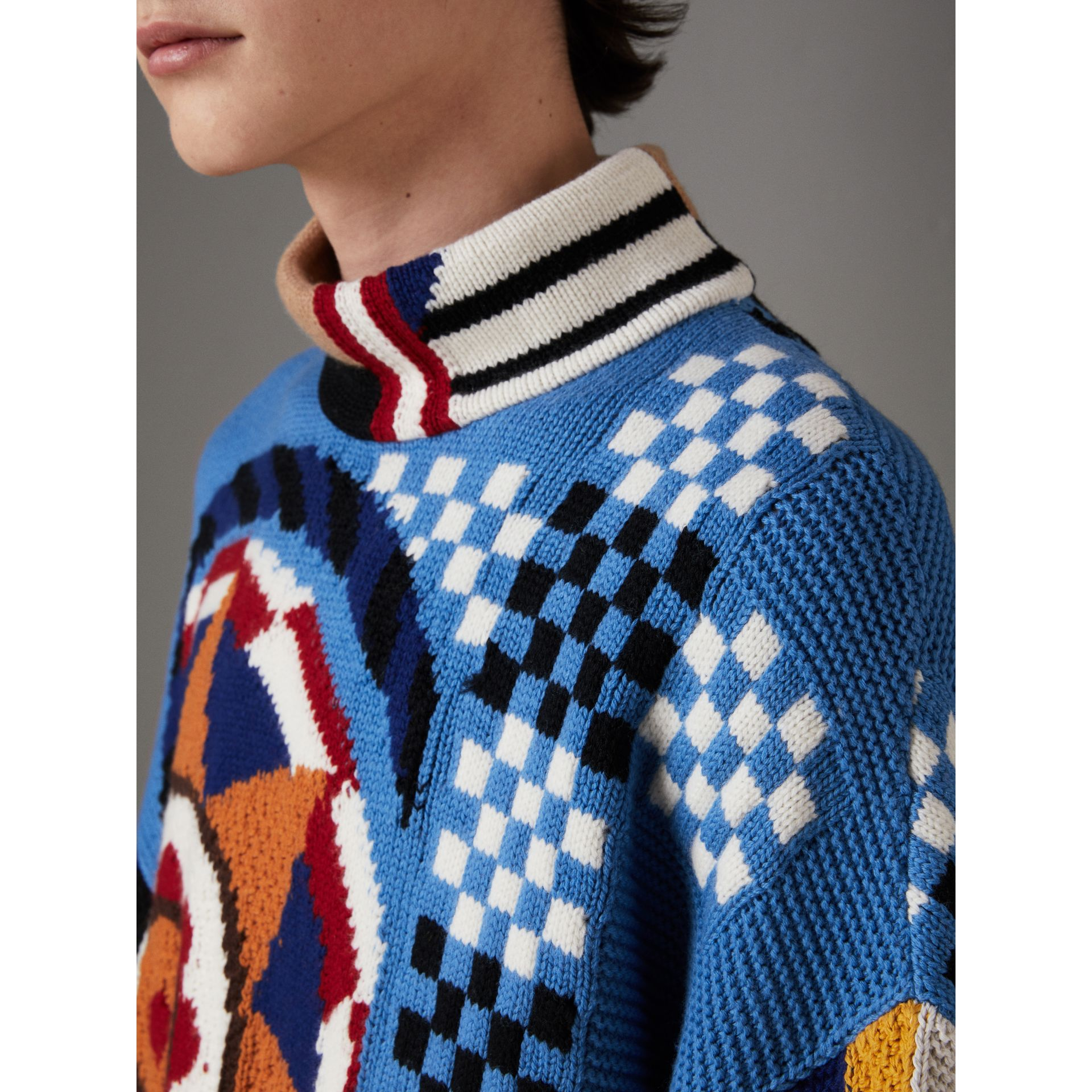 Wool Cashmere Cotton Graphic Intarsia Sweater in Multicolour | Burberry - gallery image 1