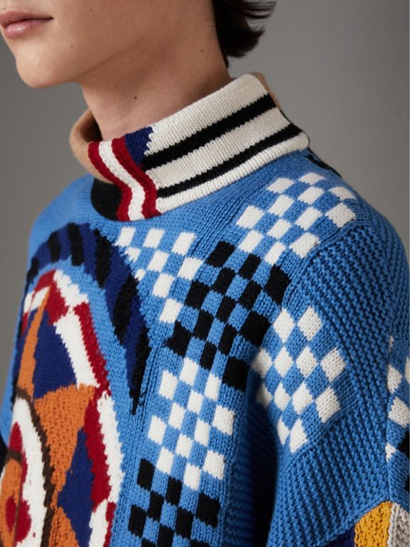 Wool Cashmere Cotton Graphic Intarsia Sweater in Multicolour | Burberry - cell image 1