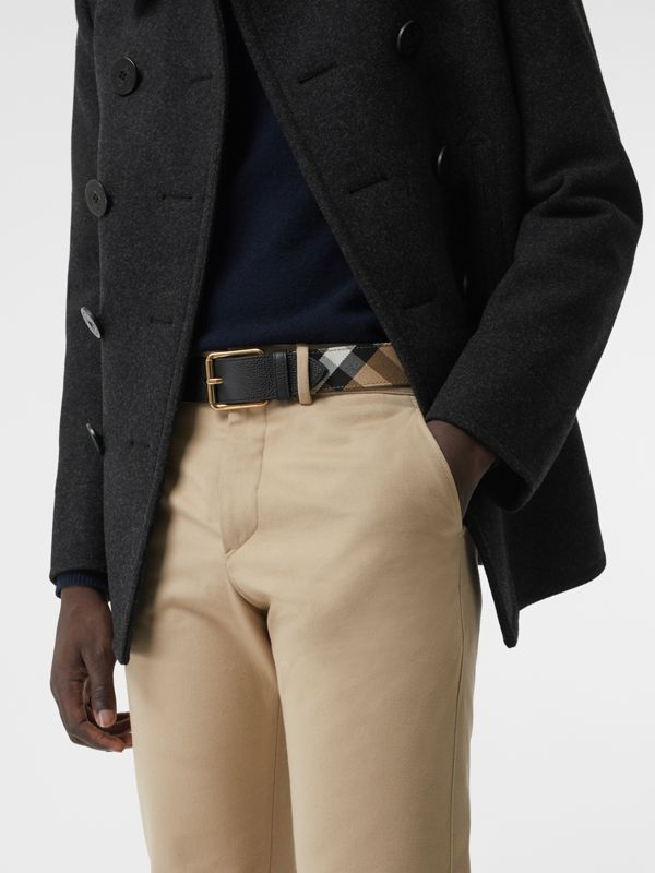 House Check and Leather Belt in Black - Men | Burberry - cell image 2
