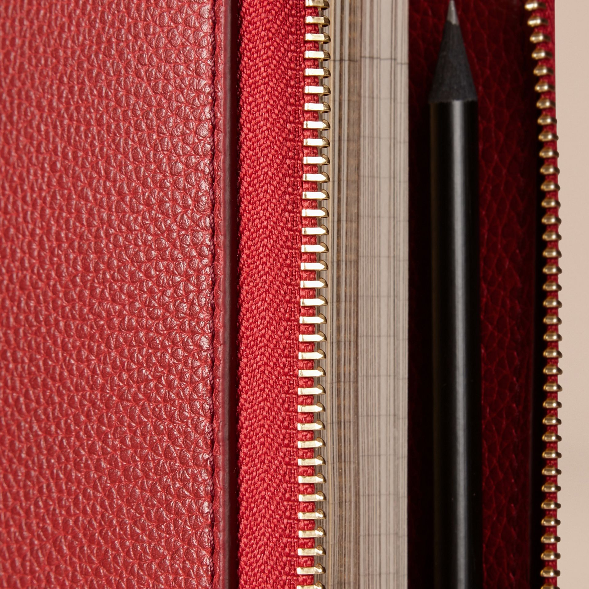 Ziparound Grainy Leather A5 Notebook in Parade Red | Burberry - gallery image 2