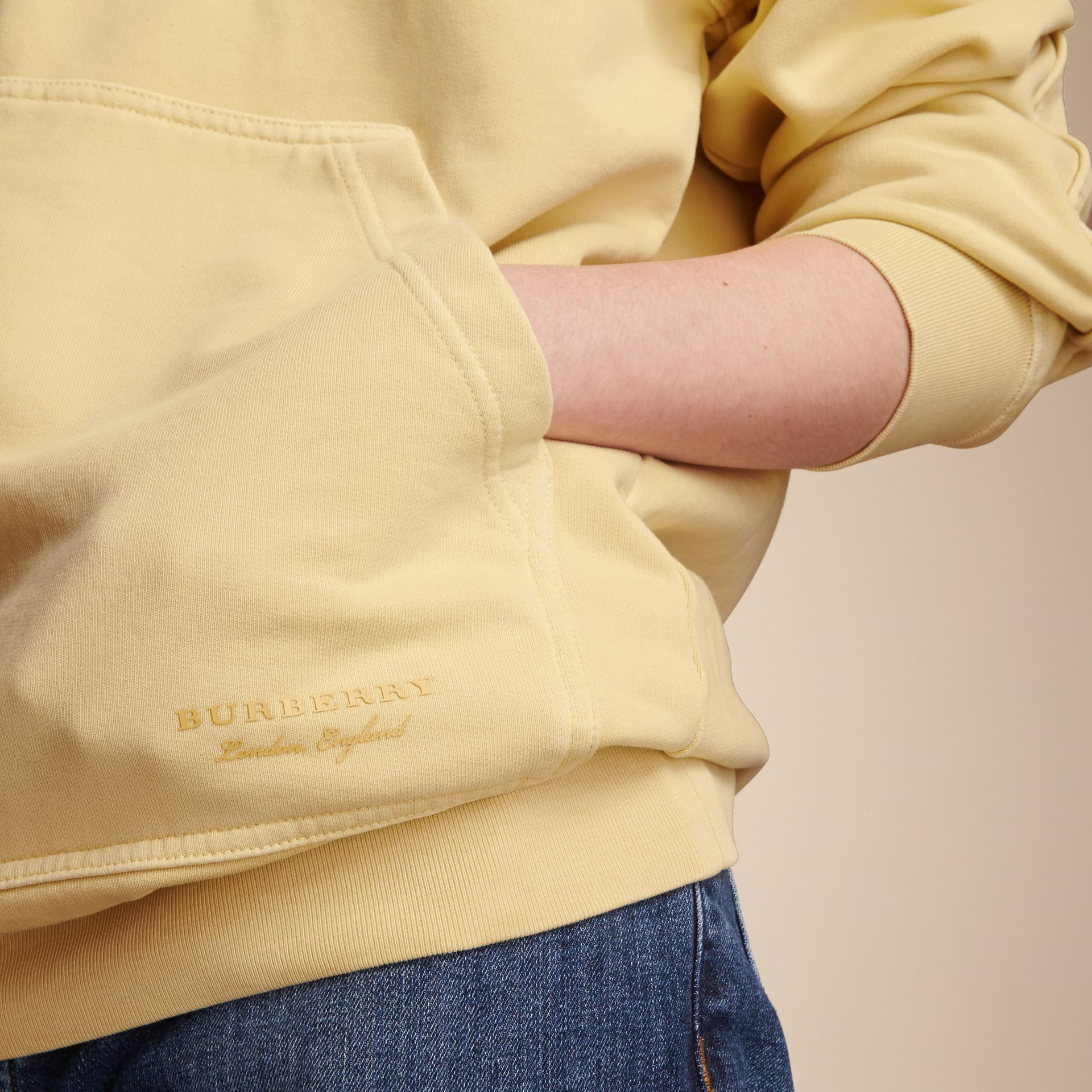 Unisex Pigment-dyed Cotton Oversize Sweatshirt in Pale Yellow - Women | Burberry Hong Kong - gallery image 5