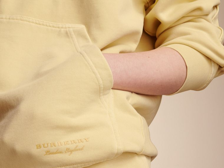 Unisex Pigment-dyed Cotton Oversize Sweatshirt in Pale Yellow - Women | Burberry Hong Kong - cell image 4
