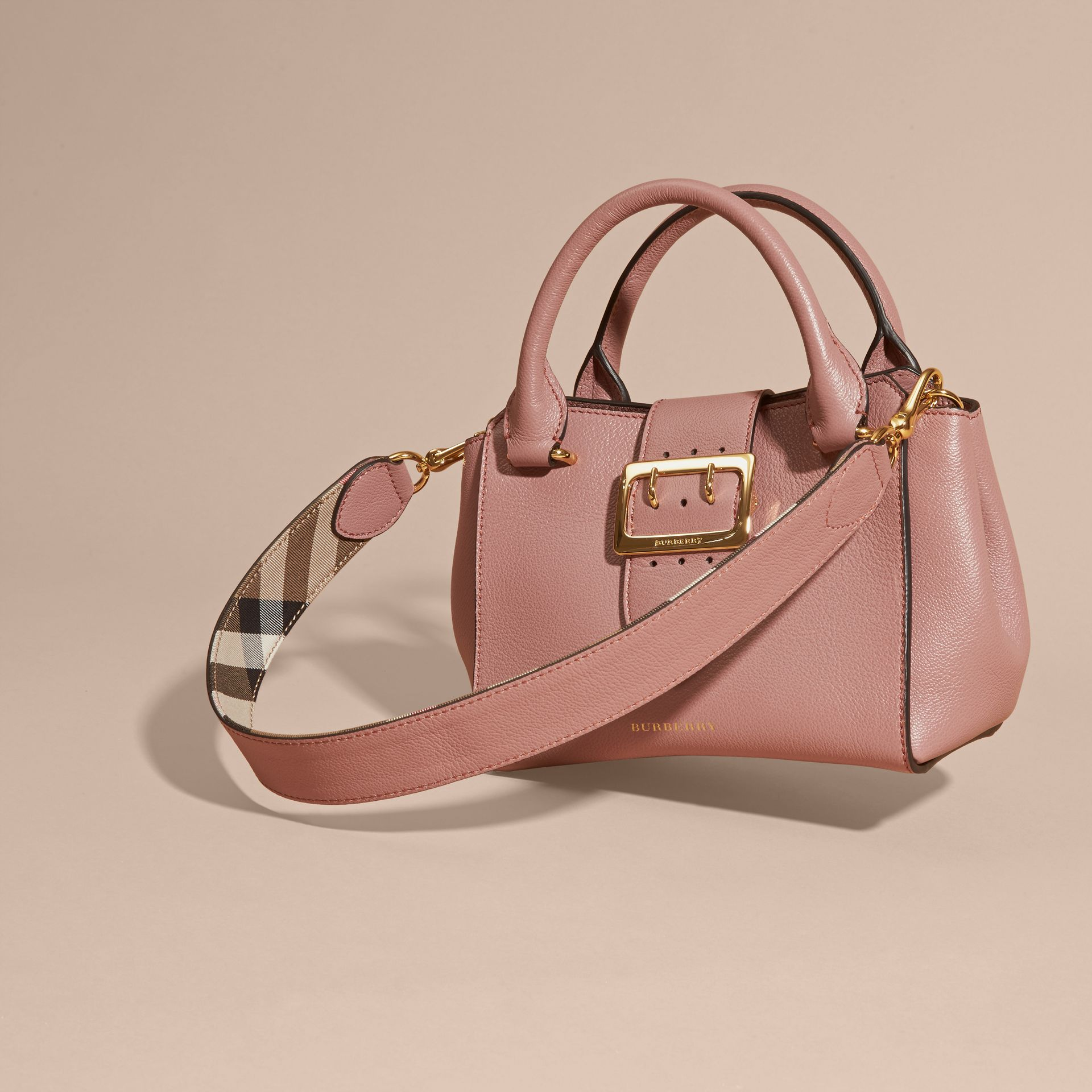 The Small Buckle Tote in Grainy Leather Dusty Pink - gallery image 8