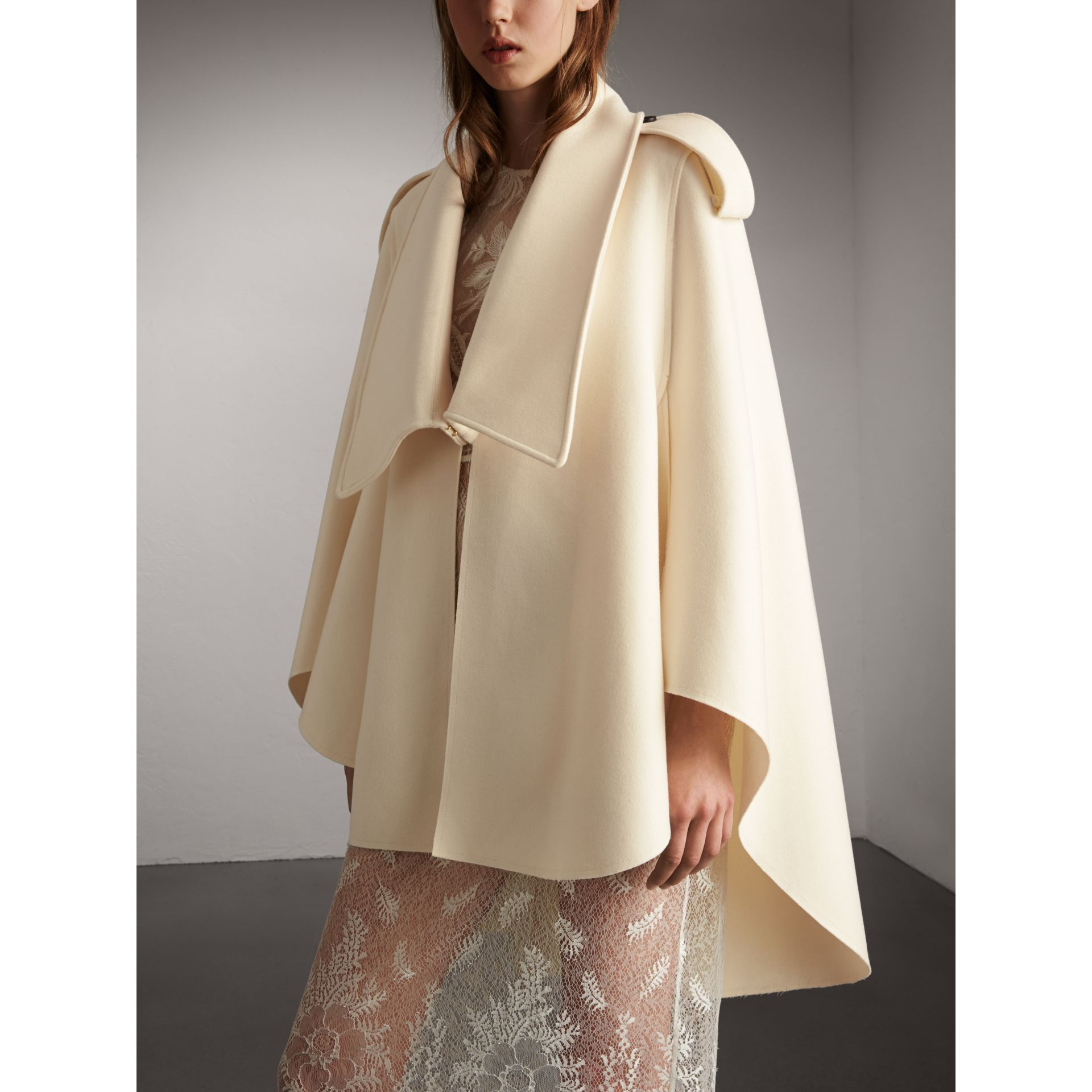 Tailored Wool Cashmere Cape in White - Women | Burberry - gallery image 5