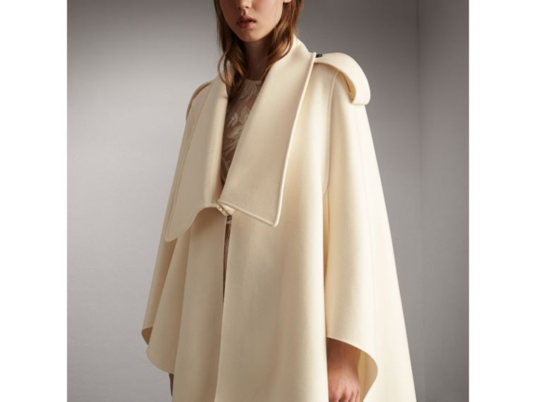 Tailored Wool Cashmere Cape in White - Women | Burberry - cell image 4