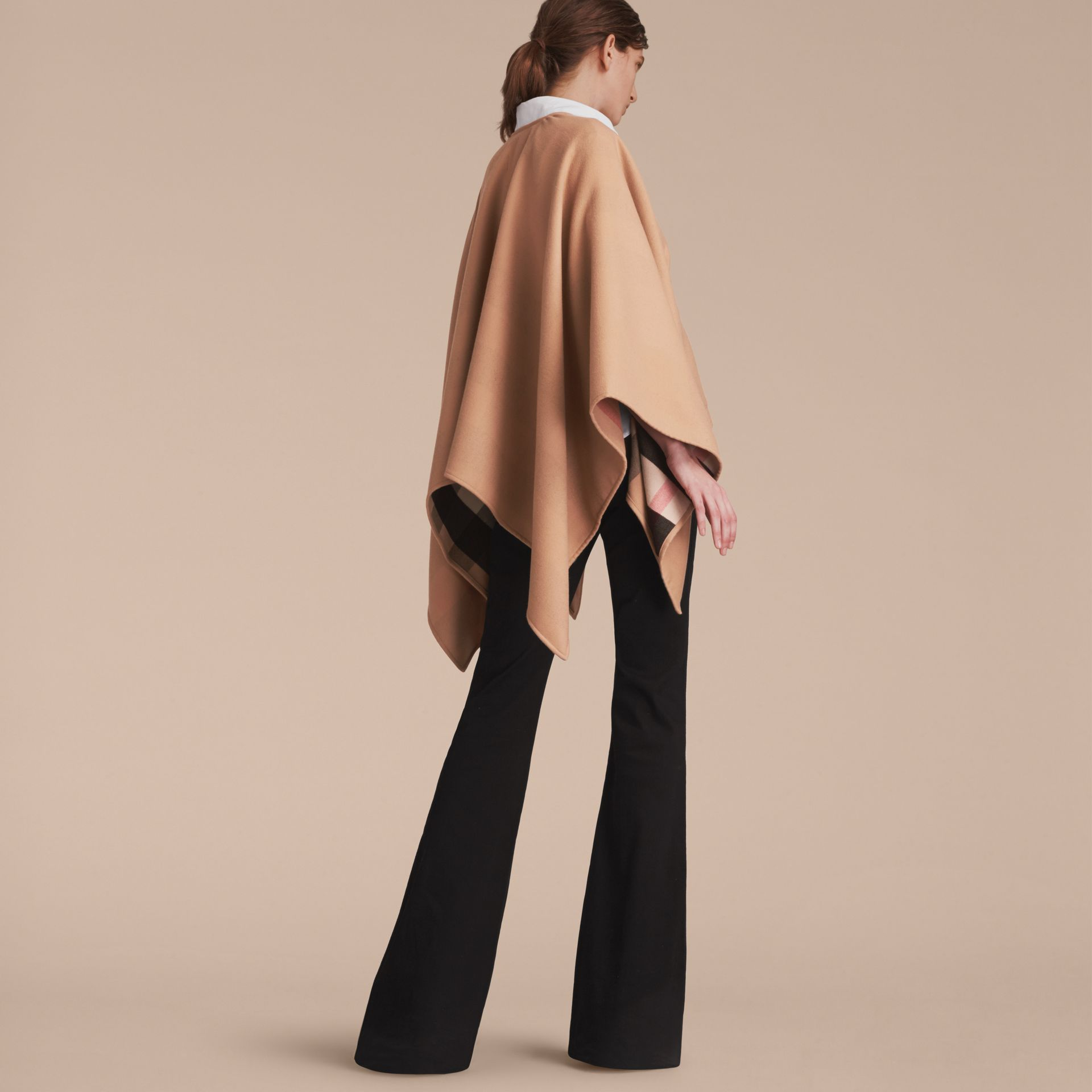 Merino Wool Poncho in Camel - Women | Burberry - gallery image 3