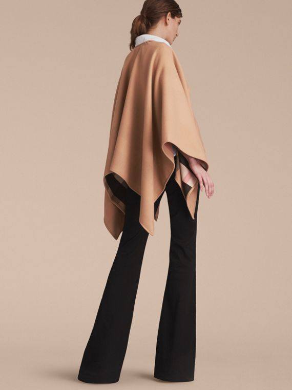Merino Wool Poncho in Camel - Women | Burberry - cell image 2
