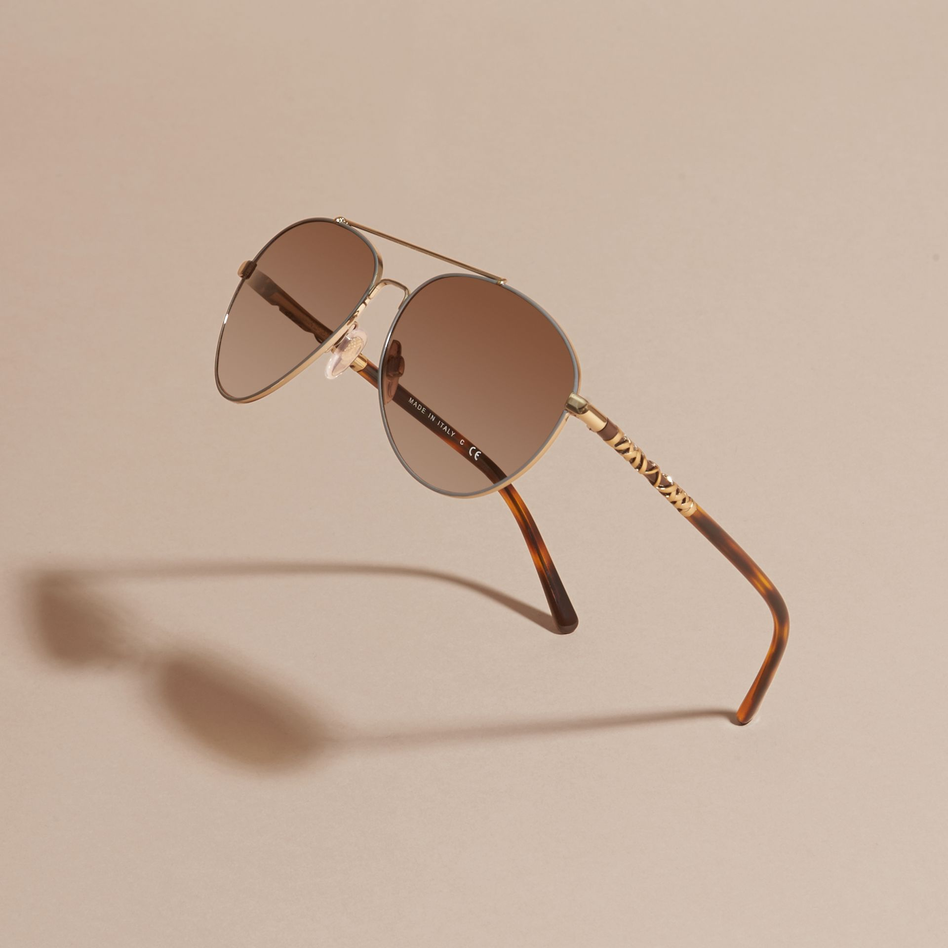 Check Detail Pilot Sunglasses in Pale Gold - Women | Burberry United States - gallery image 3
