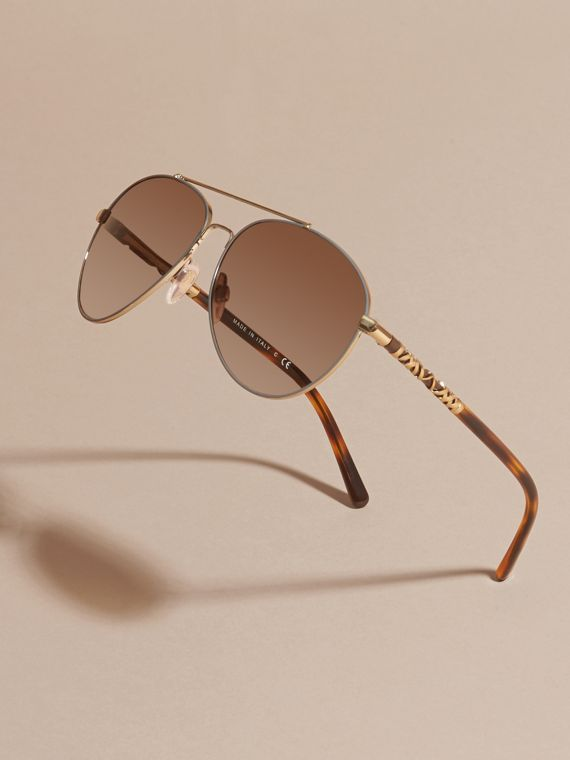 Check Detail Pilot Sunglasses in Pale Gold - Women | Burberry United States - cell image 2