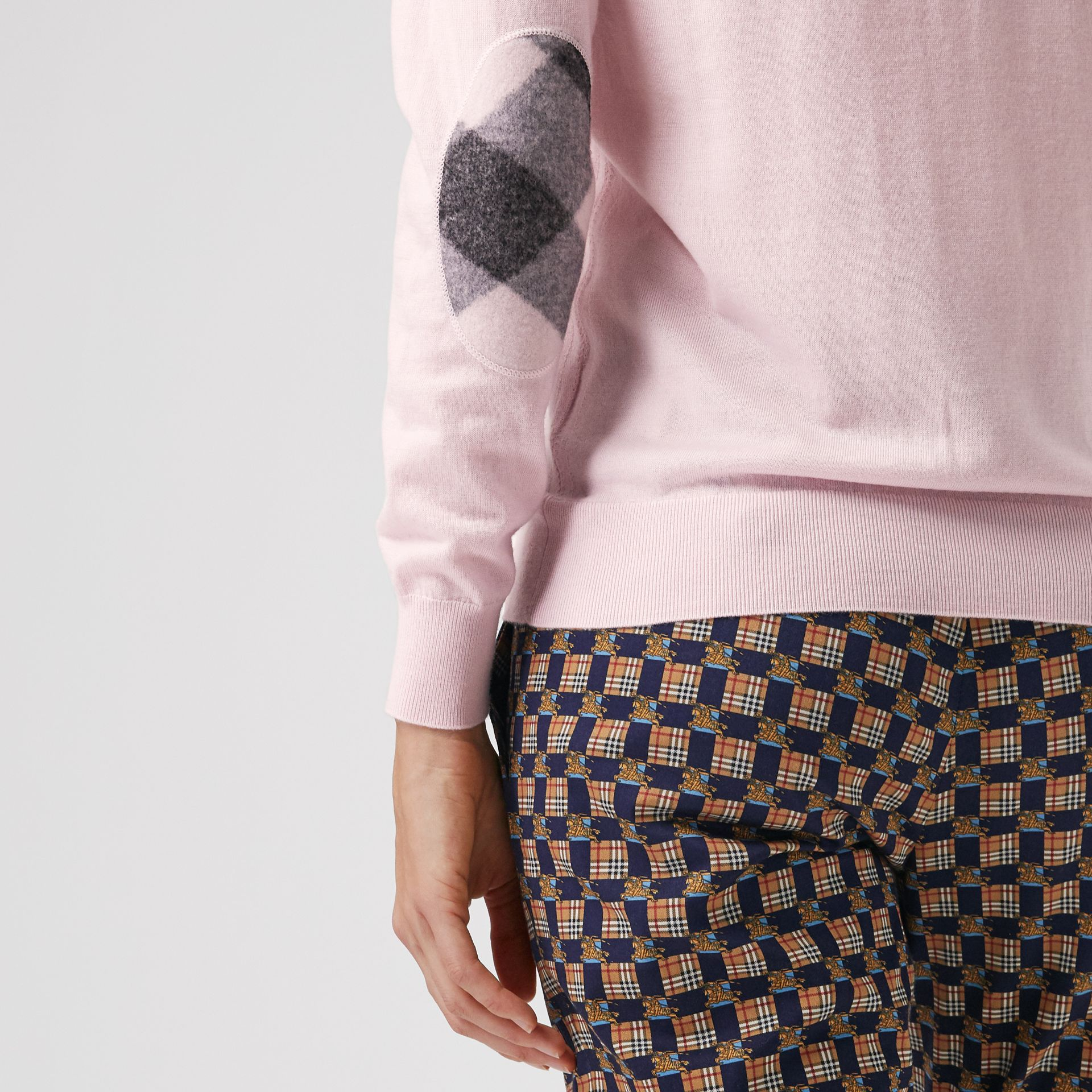 Check Elbow Detail Merino Wool Sweater in Light Pink - Women | Burberry Australia - gallery image 1