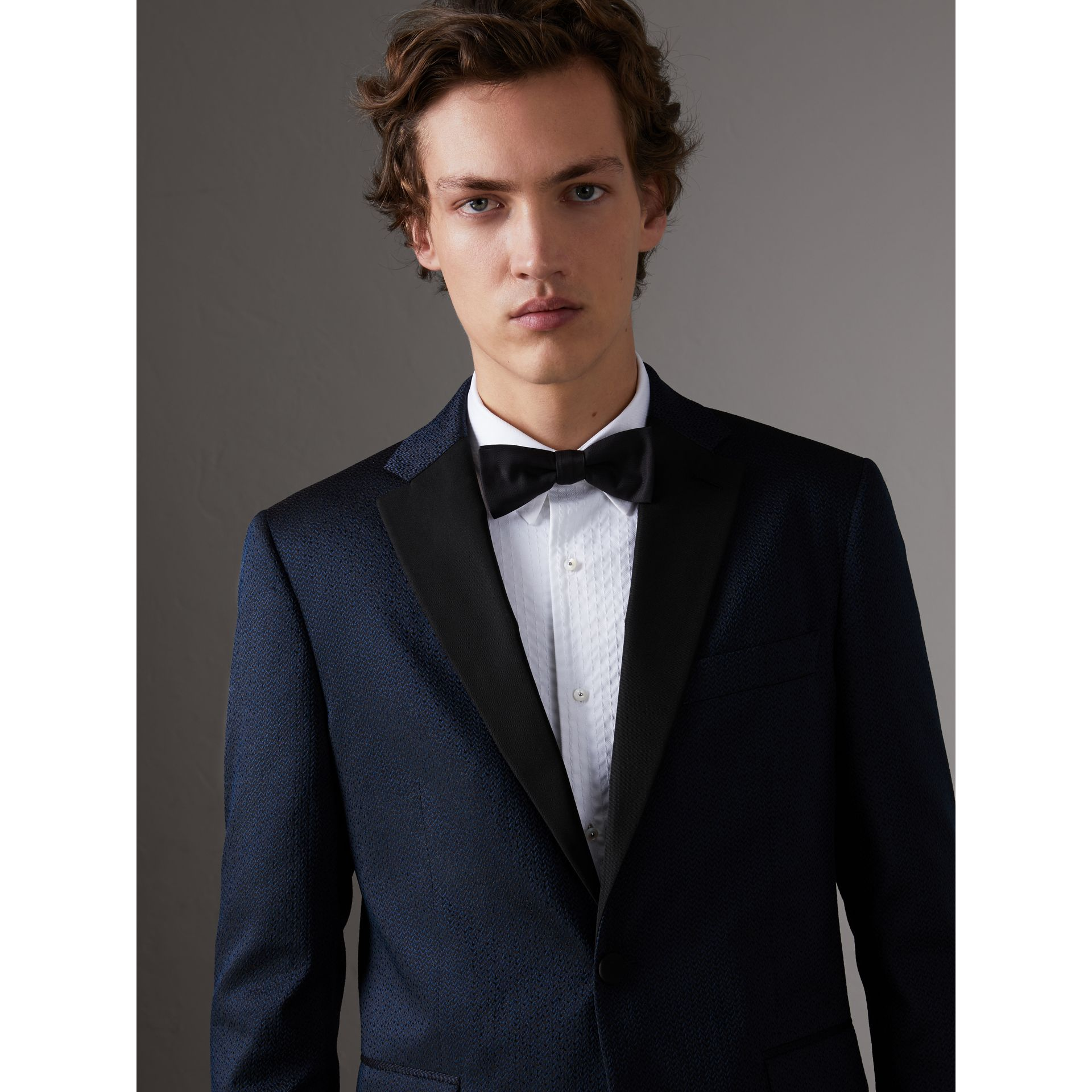 Soho Fit Jacquard Evening Jacket in Navy - Men | Burberry United Kingdom - gallery image 0