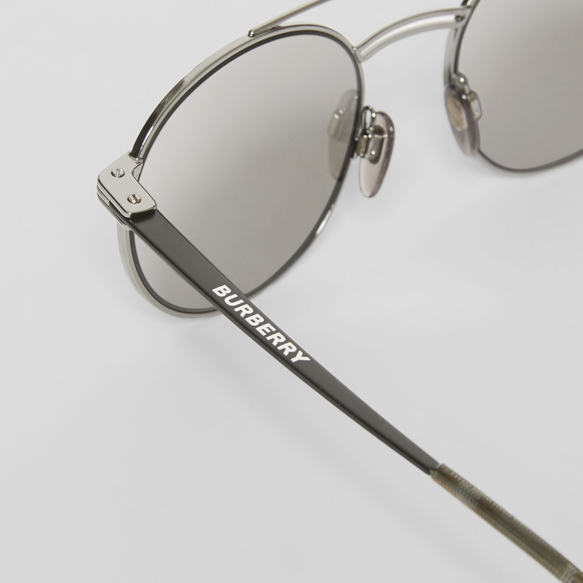 Top Bar Detail Round Frame Sunglasses in Gunmetal - Men | Burberry United States - gallery image 1