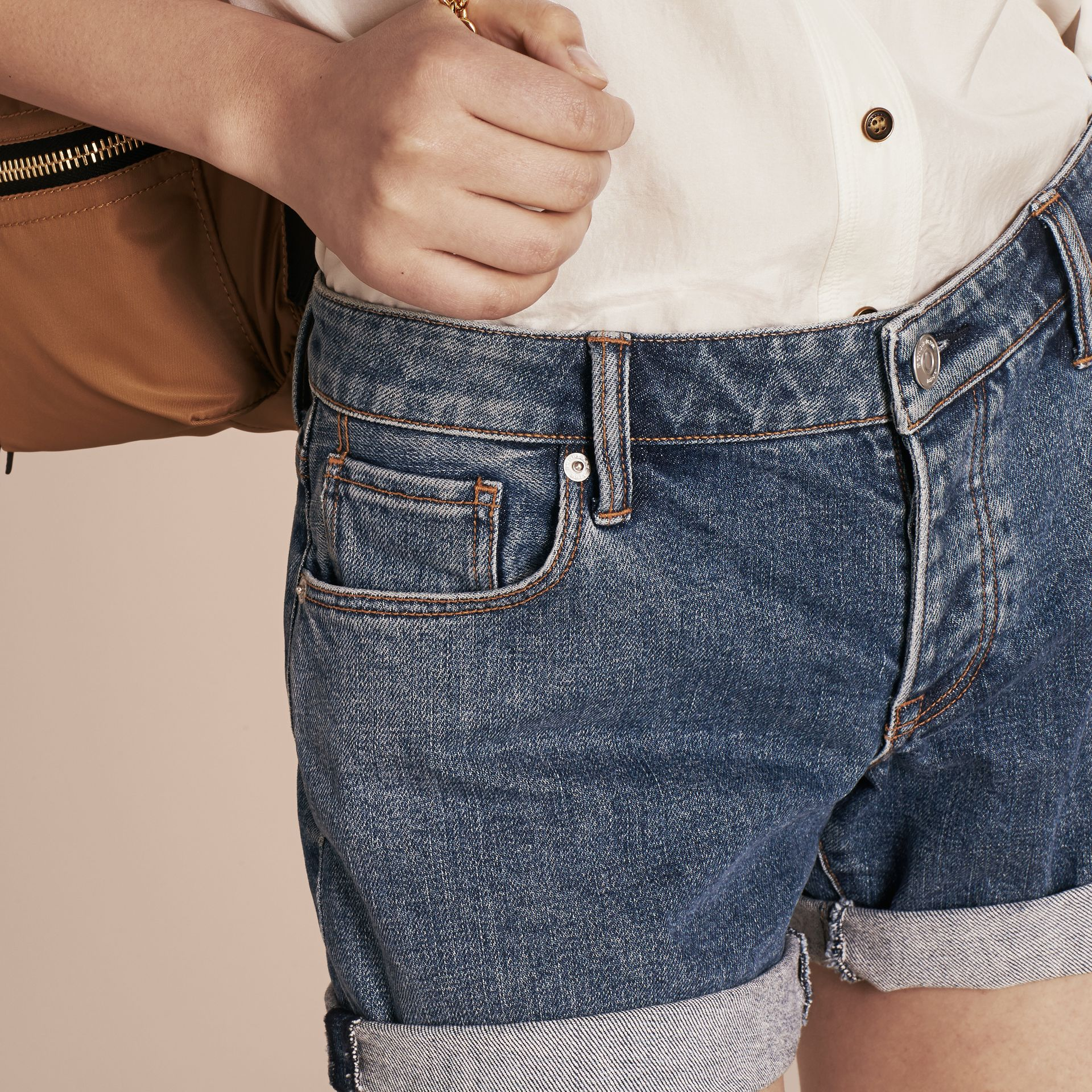 Mid indigo Low-rise Denim Shorts - gallery image 5