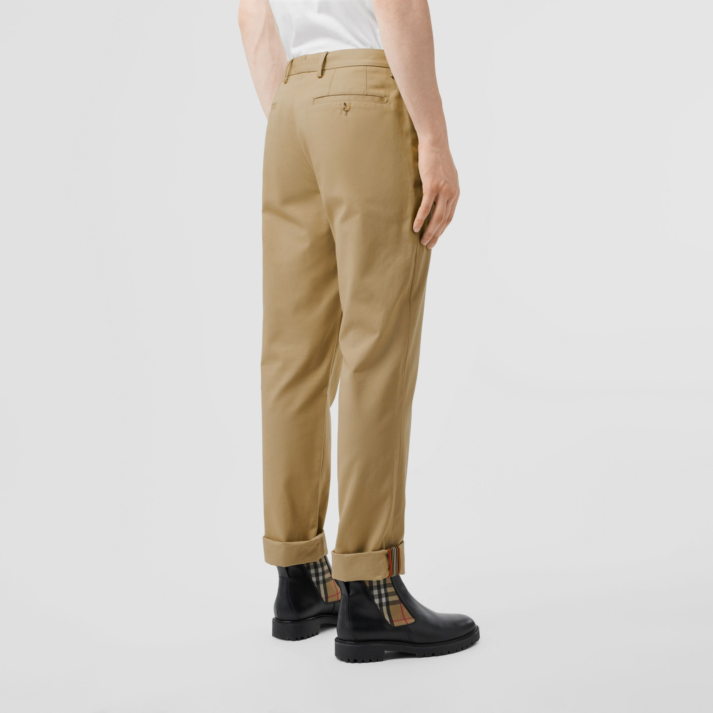 Slim Fit Cotton Chinos in Honey - Men | Burberry - 3