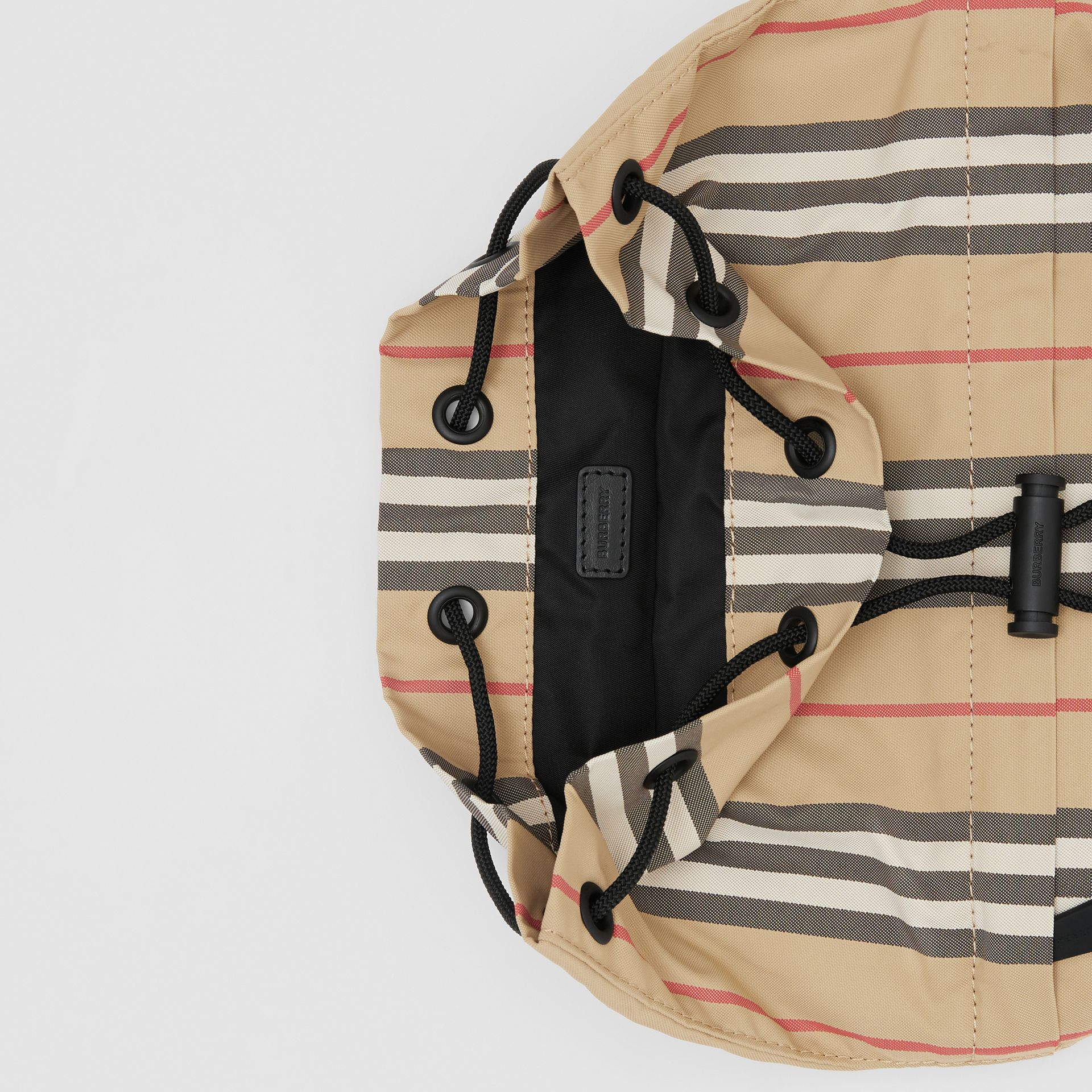 Logo Print Icon Stripe Nylon Drawcord Pouch in Archive Beige - Women | Burberry - gallery image 4