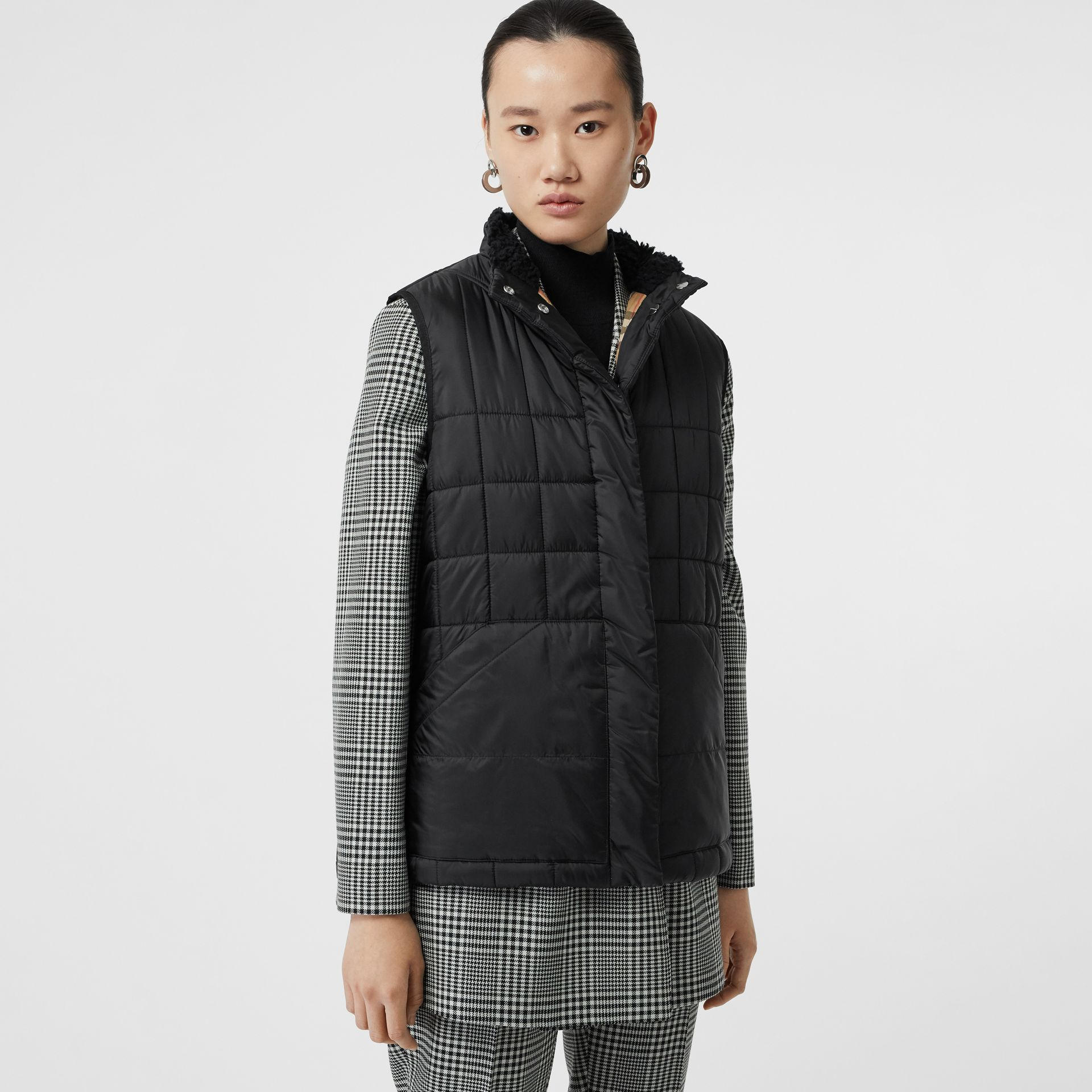 Faux Shearling Collar Lightweight Quilted Gilet in Black - Women | Burberry - gallery image 5