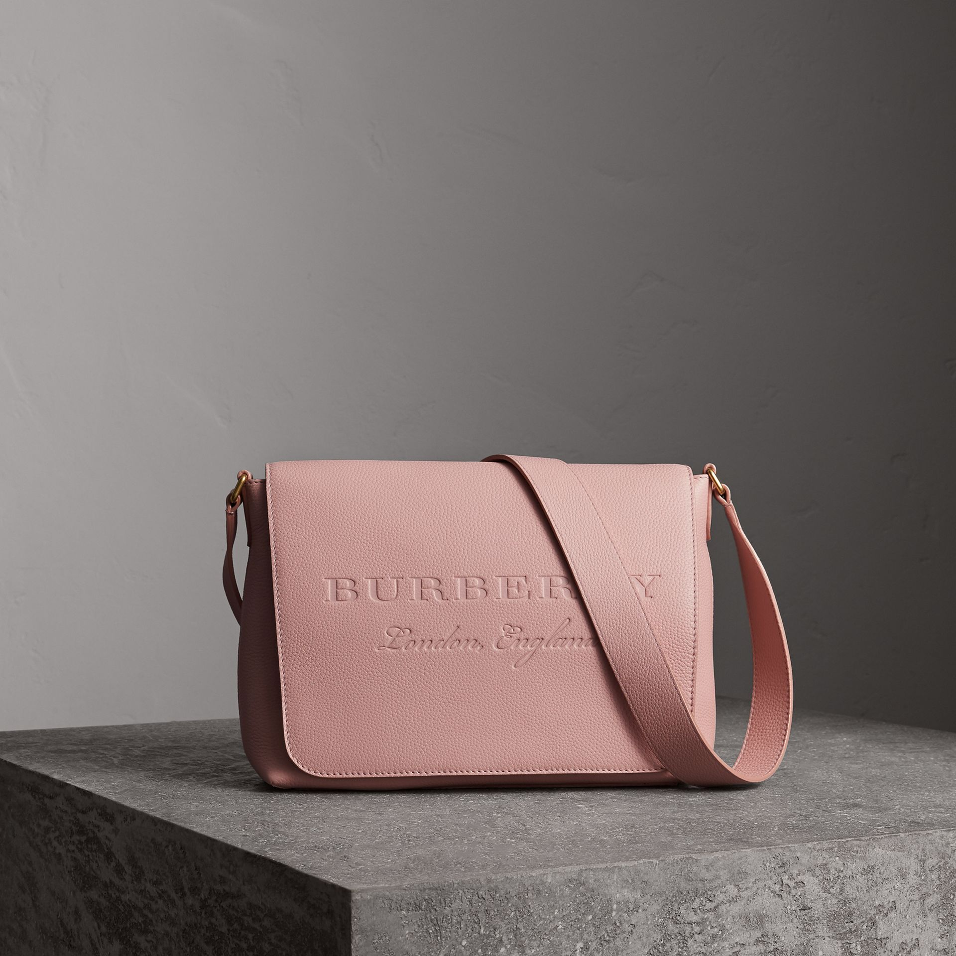 Medium Embossed Leather Messenger Bag in Pale Ash Rose - Women | Burberry United Kingdom - gallery image 0