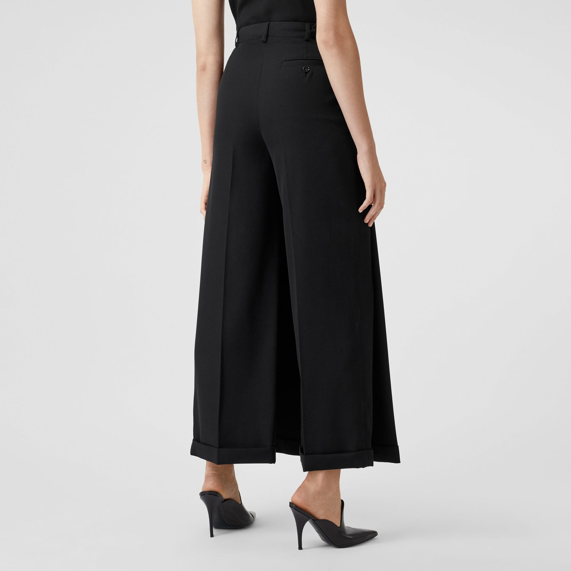 Skirt Panel Wool Wide-leg Trousers in Black - Women | Burberry - gallery image 2
