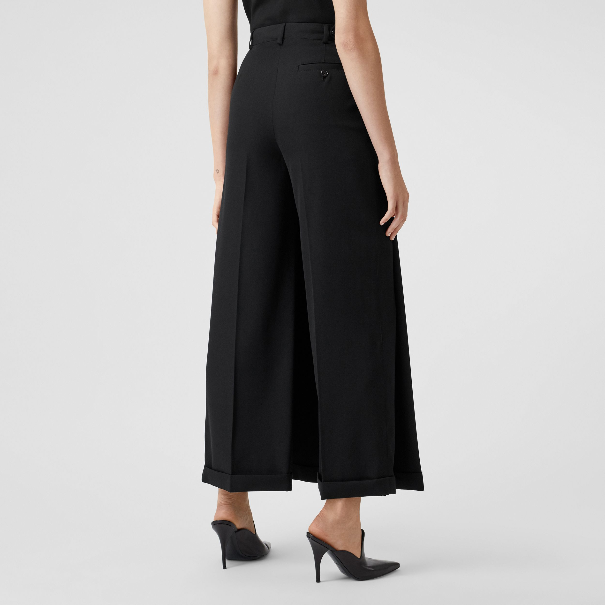 Skirt Panel Wool Wide-leg Trousers in Black - Women | Burberry - 3