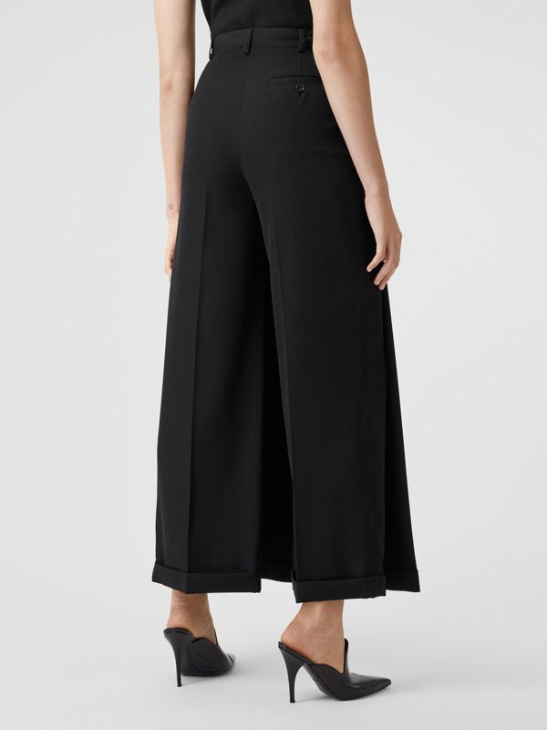 Skirt Panel Wool Wide-leg Trousers in Black - Women | Burberry - cell image 2