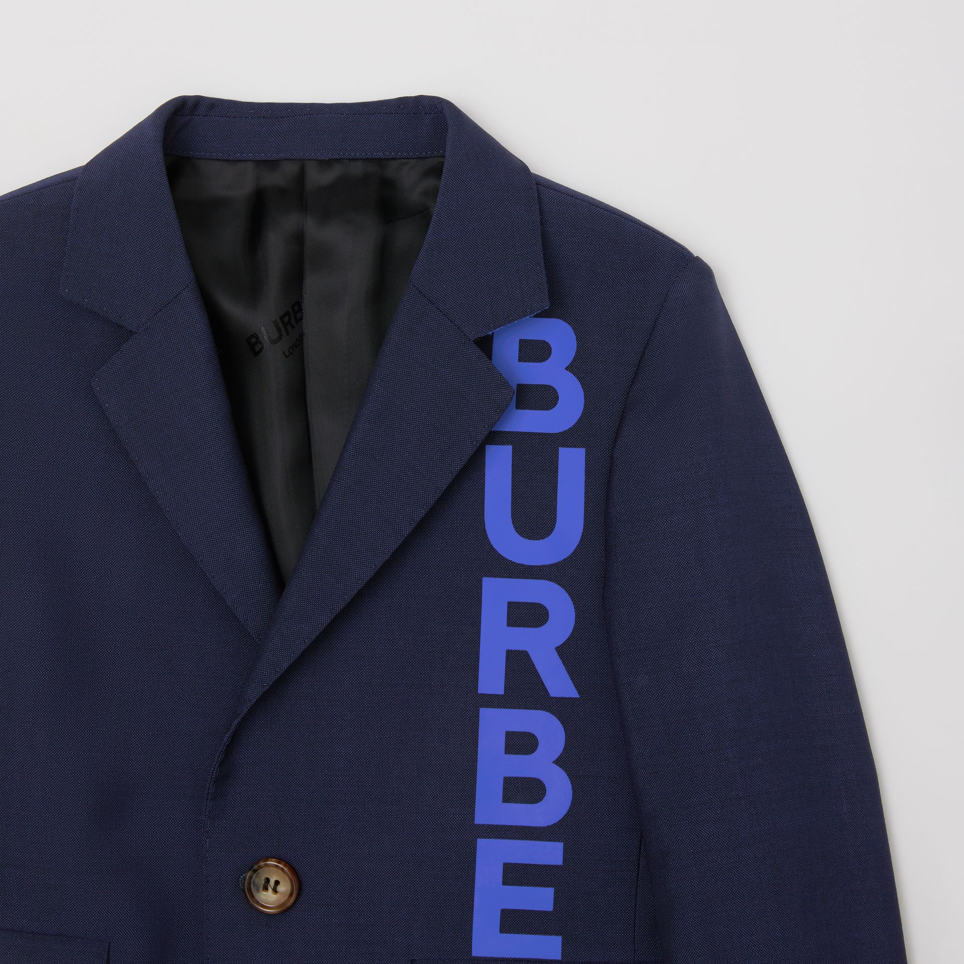Logo Print Wool Mohair Blazer in Navy | Burberry - gallery image 4