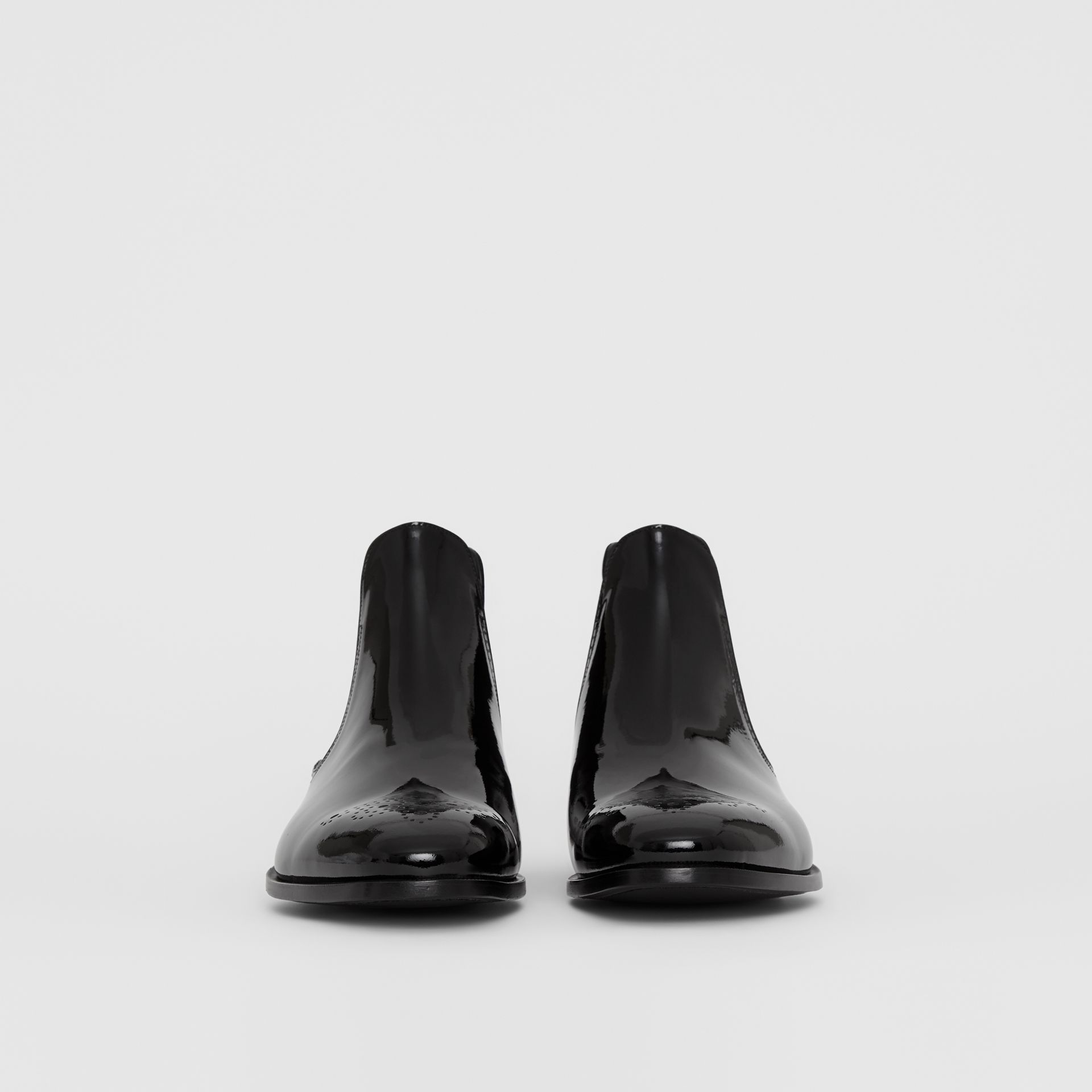 Polished Leather Chelsea Boots in Black - Men | Burberry - gallery image 2