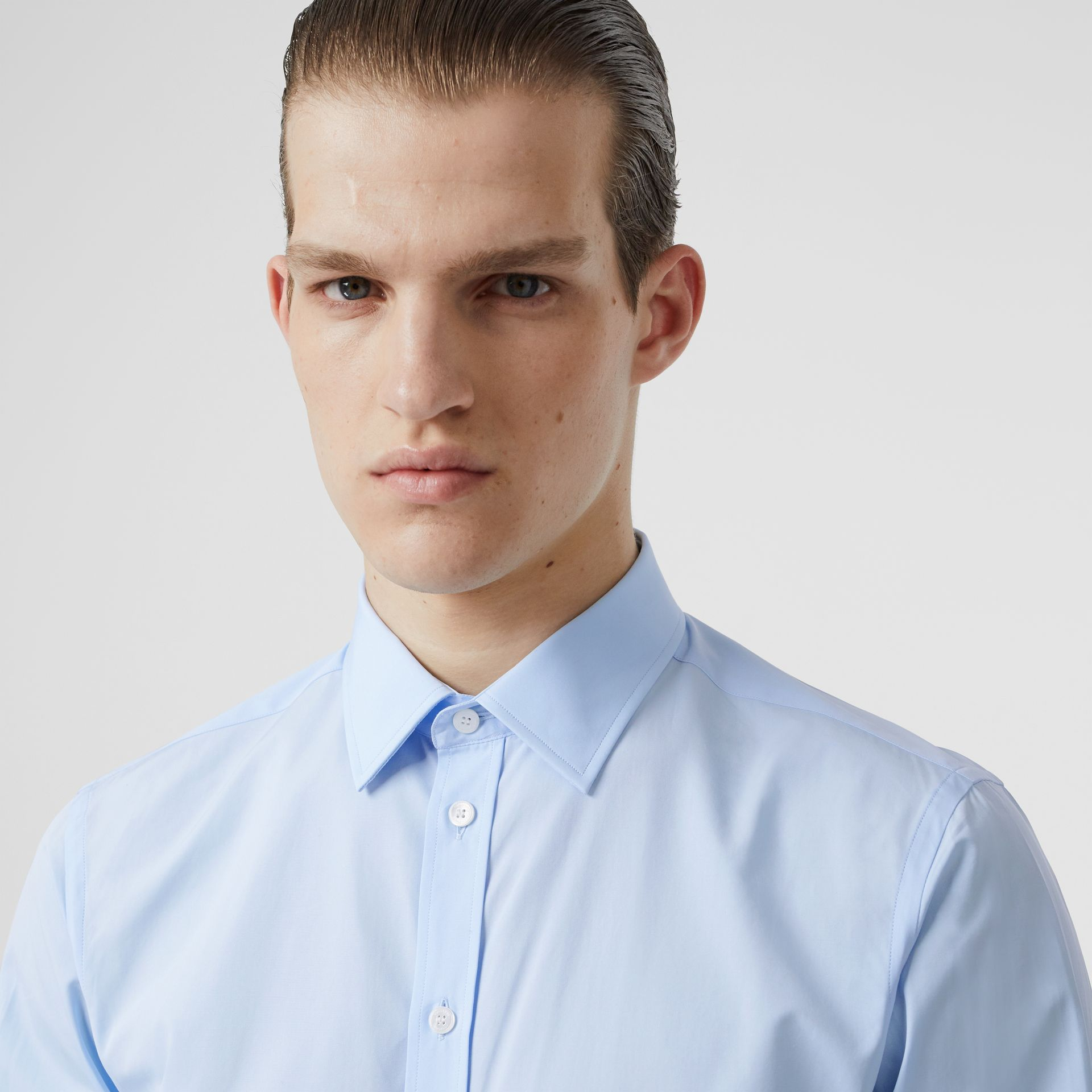 Slim Fit Monogram Motif Cotton Poplin Shirt in Pale Blue - Men | Burberry Singapore - gallery image 1