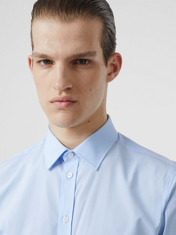 Slim Fit Monogram Motif Cotton Poplin Shirt in Pale Blue - Men | Burberry - cell image 1